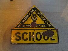 AA School enamel sign. vintage sign.enamel sign. RAC. AA.Motor Union.
