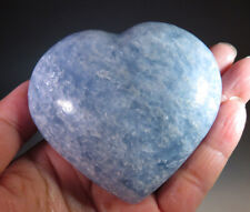 """2.9"""" Blue Calcite Crystal Carving Gemstone Heart from Madagascar *8159"""