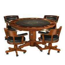 Harley Davidson 2-in-1 Poker Table with 4 Chairs - Heritage Brown Free Shipping