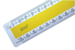 "30cm 12"" No.3 Architects scale ruler 1:1 1:100 1:20 1:200 1:5 1:50 1:1250 1:2500"