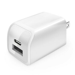 2-Port USB C USB A Fast Wall Charger AC Power Adapter US Plug for Android iPhone