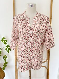 JODY K DESIGN white and pink floral 100% cotton blouse size M