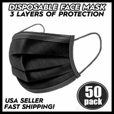 Disposable 3-Ply Face Mask 50 PCS Medical Surgical Ear-Loop Mouth Cover BLACK