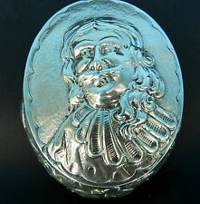 STERLING 930 SILVER PORTRAIT LARGE HINGED SNUFF / TRINKET BOX ENGLISH IMPORT