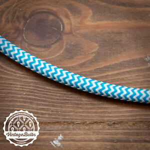 Vintage fabric Blue & White braided cable three core retro pendant wire