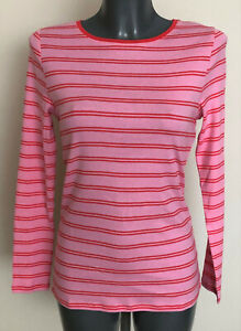 M&S Sizes 12 14 Long Sleeve Soft Cotton Pink Striped T-Shirt Top Free Postage