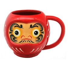 JAPANESE STYLE RED DARUMA HEAD SHAPED NOVELTY CERAMIC MUG COFFEE CUP NEW IN BOX