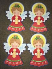 "4 Diecut CHRISTMAS ANGELS Holding Candles 16.5"" Double Sided VINTAGE"