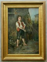 Antique 19th Century 1800's Original Oil Painting Portrait of Young Peasant Boy