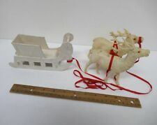 Vintage Christmas (1) White Wood Sleigh & (2) Celluloid Reindeer (Japan) yz4639