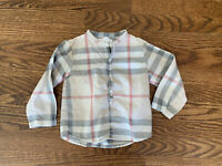 Burberry Children Boy Girl Unisex Mandarin Collar Nova Check Plaid Top Shirt 2T