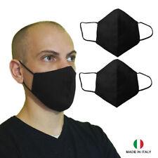 2 pezzi protezione naso bocca lavabili nere di cotone antibatterico