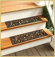 RUBBER STAIR STEP TREADS MATS LEAF DESIGN OUTDOOR PORCH PATIO TRACTION ~ CHOICES