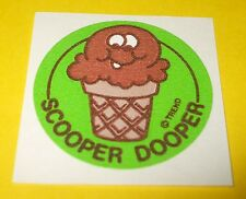 Vtg 80s TREND Scratch & Sniff MATTE Stinky Sticker SCOOPER DOOPER Chocolate Cone