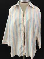 Lands End shirt top Size 16W blouse rainbow stripe 3/4 sleeve womens