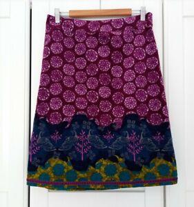 White Stuff Purple Peacock Ornamental Velvet Skirt UK10