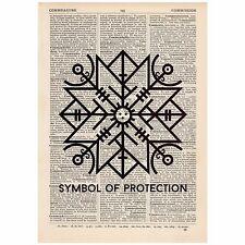 Rune Symbol of Protection Word Art Print OOAK, Quirky, Alternative,