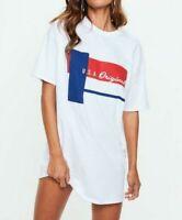 MISSGUIDED White Oversided Slogan T-Shirt Dress UK 6 US 2 EU 34  (camg175)