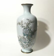 "Large Antique Japanese Silver Wire Cloisonné Floral Vase in Powder Blue 12"""
