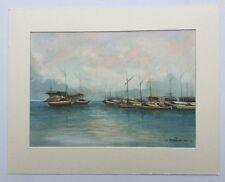 Signature Illegible Boats Watercolour