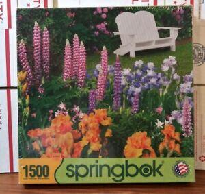 """2014 Springbok Garden Retreat 1500 Piece Jigsaw Puzzle  28.75"""" x 36"""""""