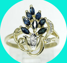 .50CT diamond sapphire cascade ring 14K YG blue marquise sz 7.25 birthstone