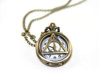 Harry Potter The Death Hallows Retro Quartz Pocket Watch with Metal Necklace