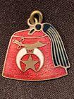 Shriner Charm Fez Tassel Enamel on Brass Pendant Masonic Freemason Vintage