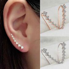 Rhinestone Silver Crystal Pave Bar Ear Climber Stud Earrings Classic Jewelry