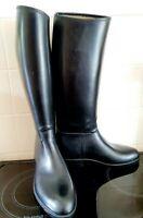 Aigle Long Wellington Riding Boots Rubber Black Size: EUR 42 UK 8