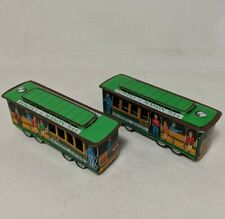 Pair Vintage Tin Friction Toy Car Trolley Japanese 514 Powell And Mason Japan