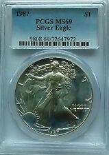 PCGS 1987 Silver AMERICAN EAGLE Dollar $1 Coin MS69 1oz .999 Ag USA Mint BU Blue