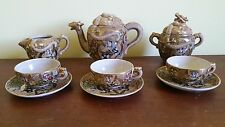 Antique Satsuma Moriage Tea Set With Dragon, Kwannon and Arhats Hand Signed Mark