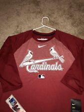 (L) Red St Louis Cardinals Nike Dri-Fit Three Quarter Sleeve Tee NWT