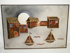 JAPANESE SAILBOAT MOON OCEAN HARBOR RAISED 3D COPPER JAPAN WALL ART PICTURE VGT