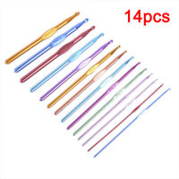 14pcs Set Multi-colour Aluminum Crochet Hooks Needles Knit Weave Craft Yarn_ti