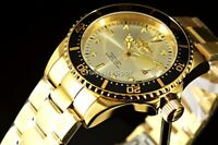 Invicta Men's Pro Diver 43MM Sunray Silver Dial 18k Gold Tone SS Bracelet Watch