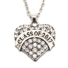 Girl's Class of 2017 Crystal Heart Necklace Jewelry Pendant Graduation Gift