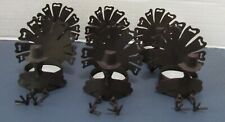 6 Yankee Candle Brown Metal Turkey Tealight Holder Move-able Legs Thanksgiving
