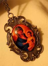 Gorgeous Peach & Blue Madonna Child Theotokos Cameo Medal Brasstone Necklace