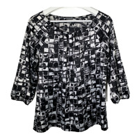 Ann Taylor Womens Top Scoop Neck Puff Sleeve Blouse Black White Work Size Medium