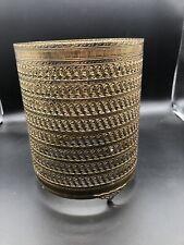 Vintage Gold Gilt Filigree Ornate Trash Can Antique Wastebasket Hollywood
