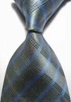 New Classic Checks Grey Blue JACQUARD WOVEN 100% Silk Men's Tie Necktie