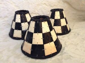 CARVED BONE LAMP SHADE, SMALL CLIP-ON, BLACK & CREAM, MADE IN INDIA