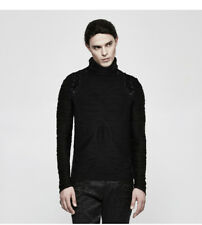 PUNK RAVE Gothic Style Men Black  T-shirt Fashion Long Sleeve Tees High Neck Top