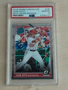 2018 panini chronicles donruss optic juan soto psa 10