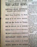 ULYSSES S. GRANT Disloyal Citizens Sent South & ATLANTA 1864 Civil War Newspaper