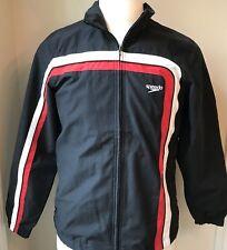 Speedo Men's Warm Up Jacket, Zip,Black Size Small 2 Pockets  H 31
