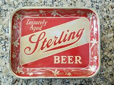 """New listing Vintage Sterling Beer Serving Tray """"Leisurely Aged"""" Used Condition"""