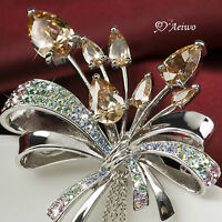 18K WHITE GOLD GP MADE WITH SWAROVSKI CRYSTAL FIREWORK PIN BROOCH